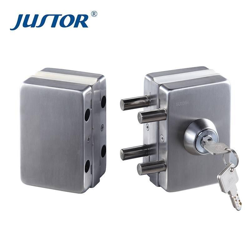 JU-W512 Frameless Glass Door Lock Double Side Key Door Lock