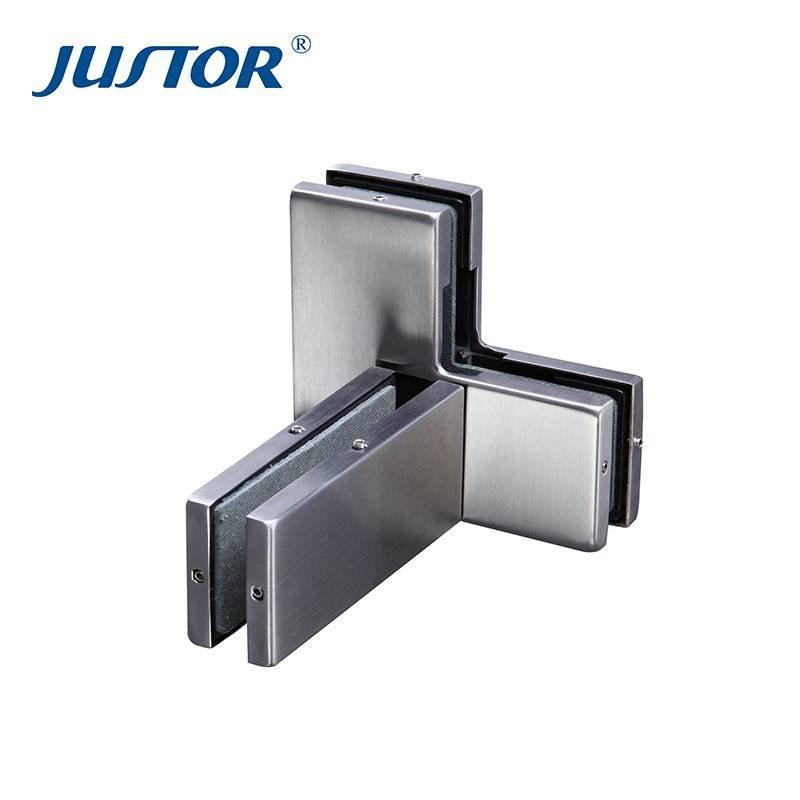 JU-360L Best Quality Die Casting Crank Clamp Glass Clip Door Hardware Bottom Patch Fittings
