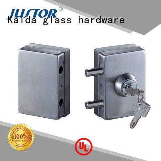 Kaida glass hardware sliding glass door handle with lock Office lock brass cylinder